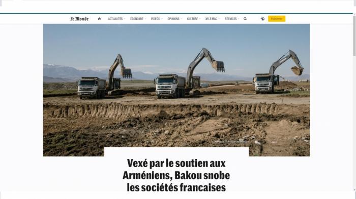 """""""Le Monde"""" escribe sobre la reconstrucción de Karabaj"""