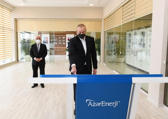 """Präsident Ilham Aliyev weiht die neu renovierten Umspannwerke """"Hovsan"""" und """"Maschtaga"""" ein - FOTOS"""