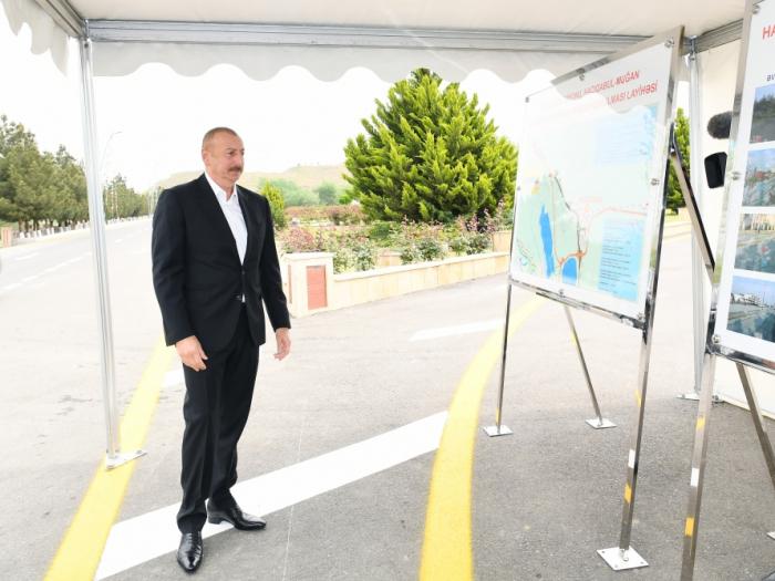 Ilham Aliyev participe à la cérémonie d'ouverture de la route Hadjigaboul-Mughan - PHOTOS