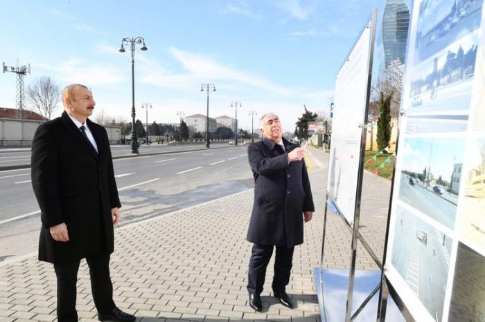 El presidente Ilham Aliyev inaugura la carretera de nueva construcción