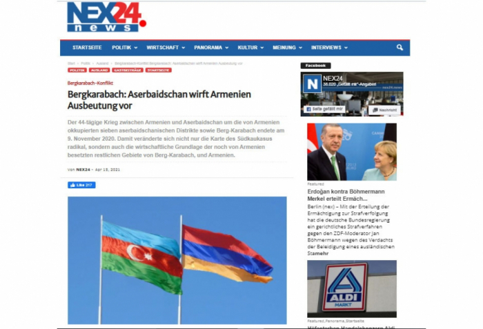 El portal alemán escribe sobre la última situación en Karabaj