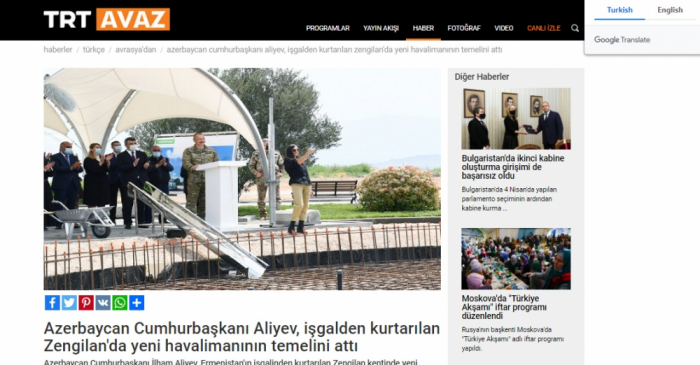 Prezidentin Qarabağa səfəri Türkiyə mediasında