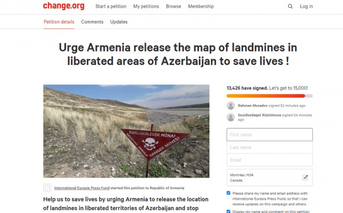 More than 15,000 people join petition against Armenia over minefield maps