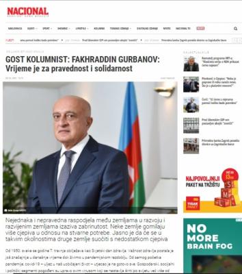 Croatian media highlights Azerbaijan's efforts to fight COVID-19 pandemic