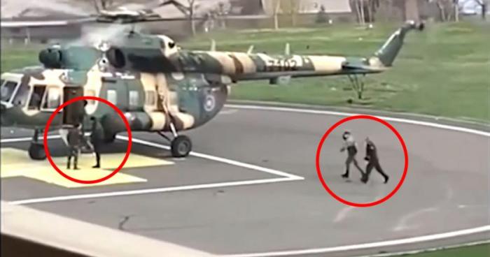 Erməni nazir etirazçılardan helikopterlə qaçır -  VİDEO