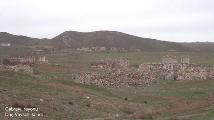 Las imágenes de la aldea de Dash Veyselli de Jabrayil-Video