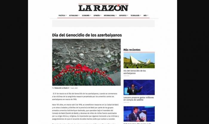31 Mart soyqırımı Peru mətbuatında