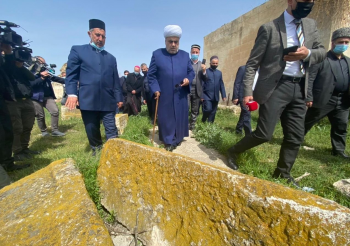 Heads of religious confessions view ruined monuments in liberated Aghdam