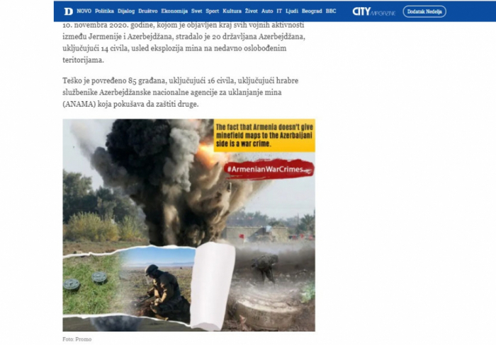 Un periódico serbio escribe sobre la negación de Armenia a publicar mapas de campos de minas