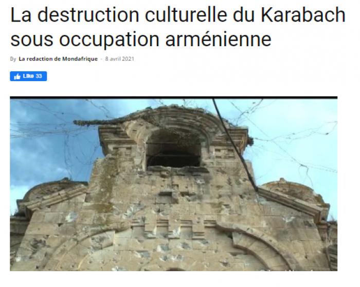 Mondafrique:  «La destruction culturelle du Karabach sous occupation arménienne»
