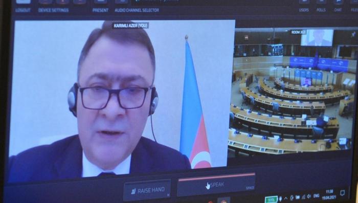 Los diputados azerbaiyanos asisten a la reunión plenaria en línea de Euronest PA
