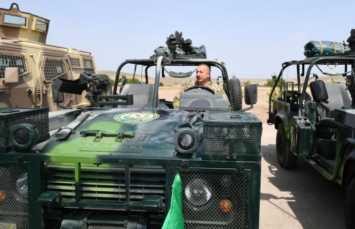 Azerbaijani president, first lady attend opening ceremony of military unit in Jabrayil district - PHOTOS