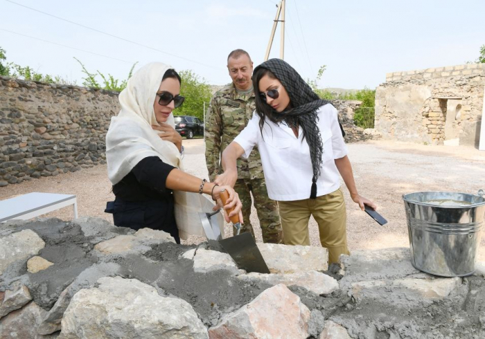 Azerbaijani president, first lady laid foundation of mosque in Zangilan district