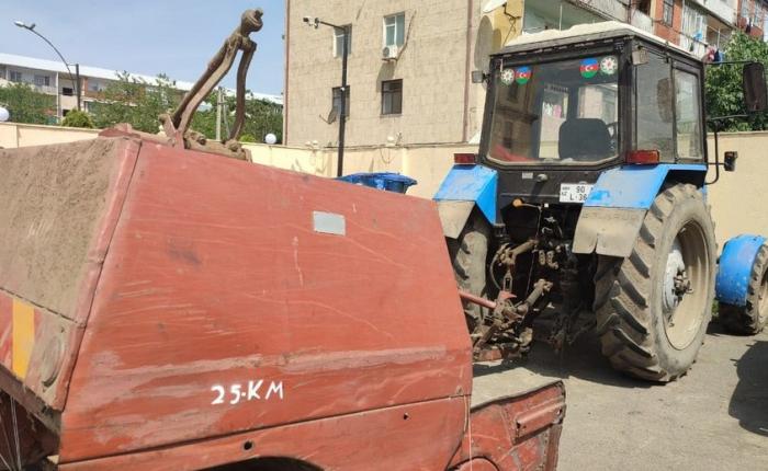 """Traktorla """"avtoşluq"""" edən içkili şəxs tutuldu"""