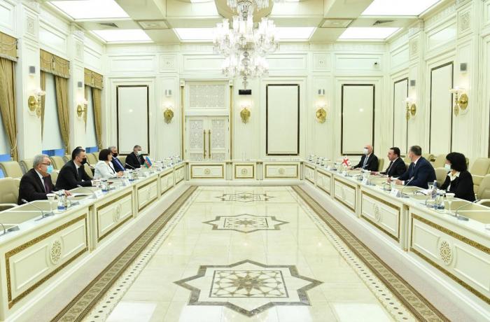 Vorsitzende des aserbaidschanischen Parlaments trifft den georgischen Premierminister