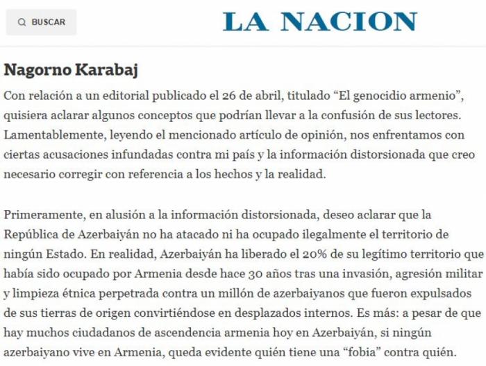 In der argentinischen Presse wurden armenische Lügen aufgedeckt
