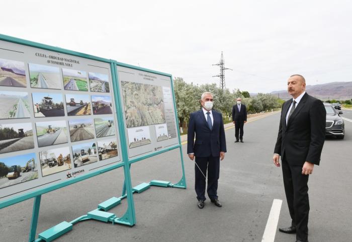 President Aliyev attends inauguration of Julfa-Ordubad highway