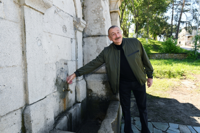 Azerbaijani president visits restored Khan Gizi spring in Shusha - PHOTOS