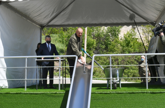 President Ilham Aliyev lays foundation stone for school No1 in Shusha