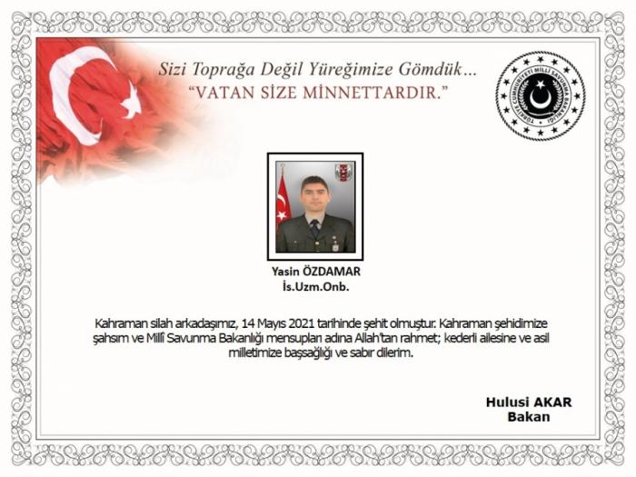 Türkiyə ordusunun hərbçisi şəhid oldu