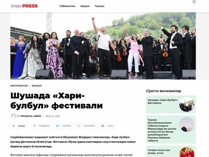 """Özbəkistan mətbuatı """"Xarıbülbül"""" festivalından yazdı"""