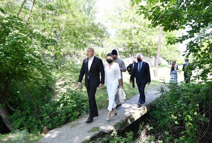 President Aliyev and his family visit Nij settlement of Gabala district - PHOTOS