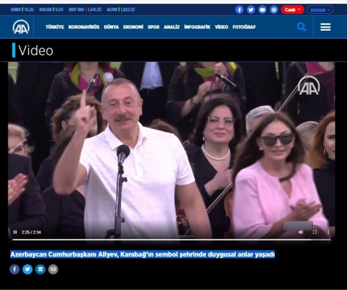 Prezidentin Şuşaya səfəri Türkiyə mediasında