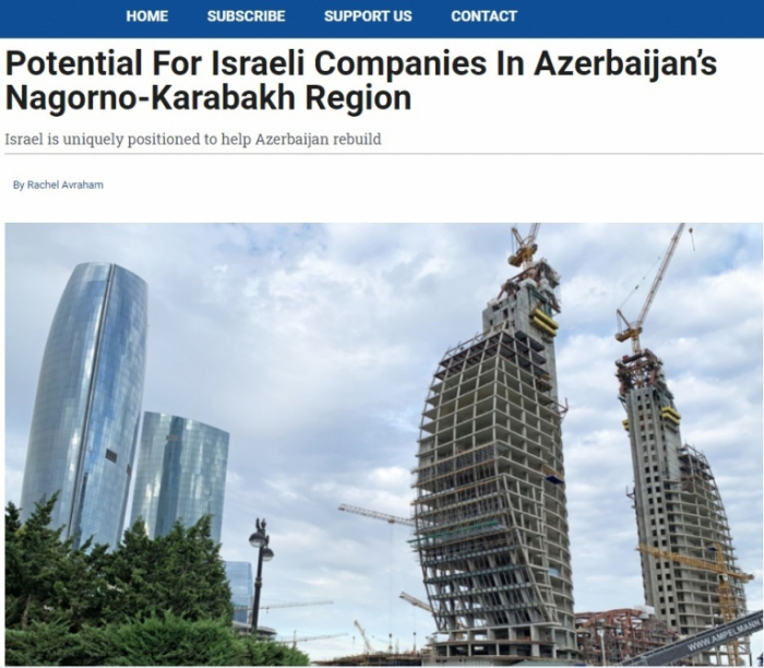 Canadian media writes about potential for Israeli companies in Nagorno Karabakh