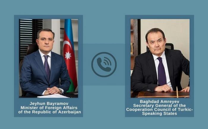 Azerbaijani FM holds phone talk with Turkic Council