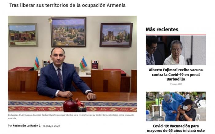 Azerbaijan steps up efforts to ensure IDPs' return – Peruvian media