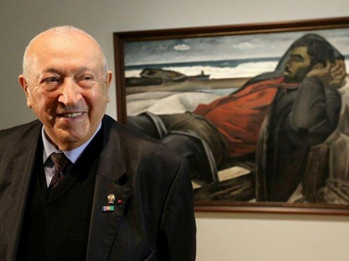 Azerbaijani president, first lady sign obituary on death of famous painter