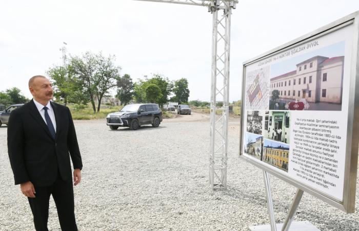 Ağdamda yeni məktəb binasının təməli qoyuldu -  FOTO (YENİLƏNİB)