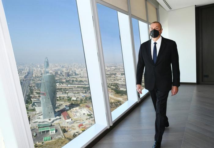 Prezident İqtisadiyyat Nazirliyinin yeni binasının açılışında -  FOTOLAR (YENİLƏNİB)
