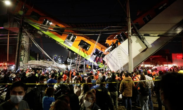 Mexico City rail overpass collapses, killing 15 people