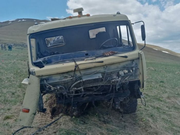 Military vehicle of Azerbaijan hit a landmine