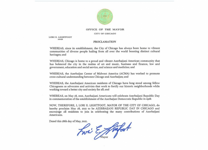 May 28, 2021 proclaimed as Azerbaijani Republic Day in Chicago