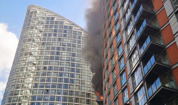 Firefighters tackle huge blaze at Tower Block in London