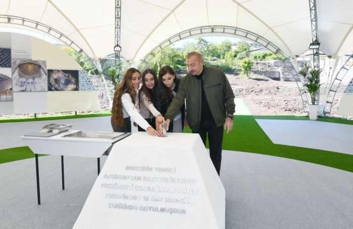 Azerbaijani president lays foundation of new mosque in Shusha