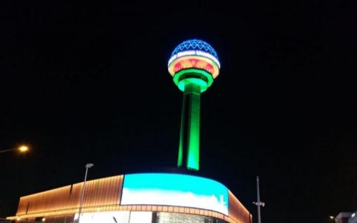 Atakule tower illuminated in colors of Azerbaijani flag -  PHOTO