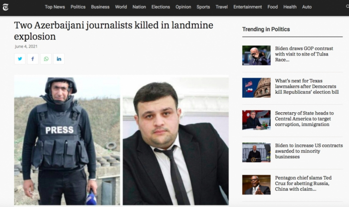U.S. newspaper highlights death of Azerbaijani journalists in mine blast
