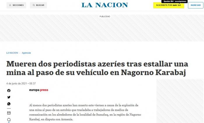 Mine blast killed three civilians in Azerbaijan's Karabakh region: Argentine newspaper