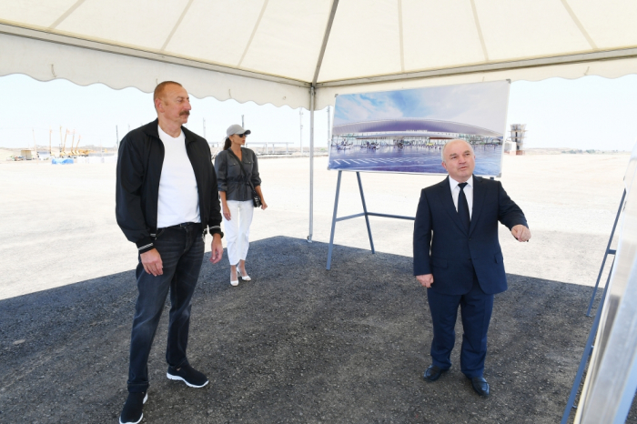 President Ilham Aliyev, First Lady Mehriban Aliyeva arrive in Fuzuli district - PHOTOS