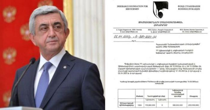 Sarkissian diffuse un document : «Le nombre de militaires arméniens portés disparus est de 1064»
