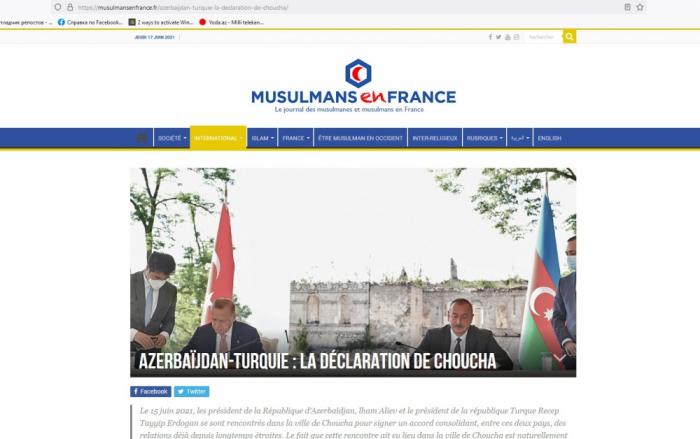 Le site «Musulmansenfrance»publie un article intitulé «Azerbaïdjan-Turquie: La déclaration de Choucha»
