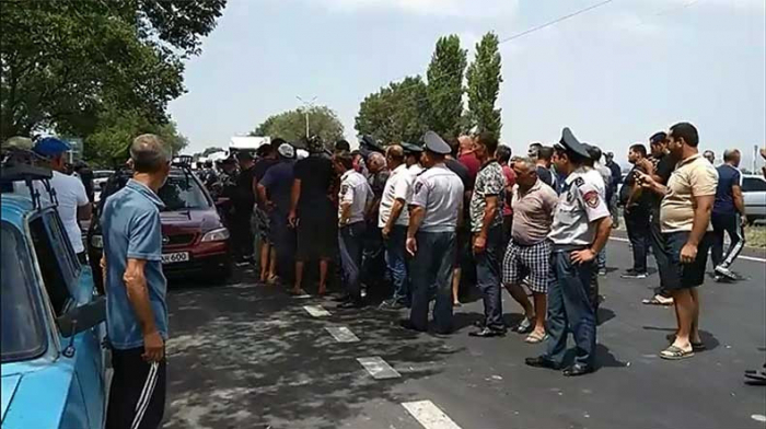 Protestors block the road in Armenia