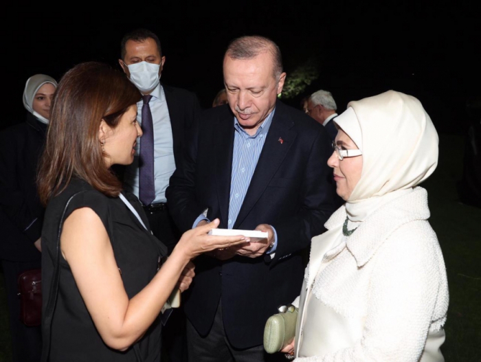 Head of Int'l Turkic Culture and Heritage Foundation presents book to Turkish president