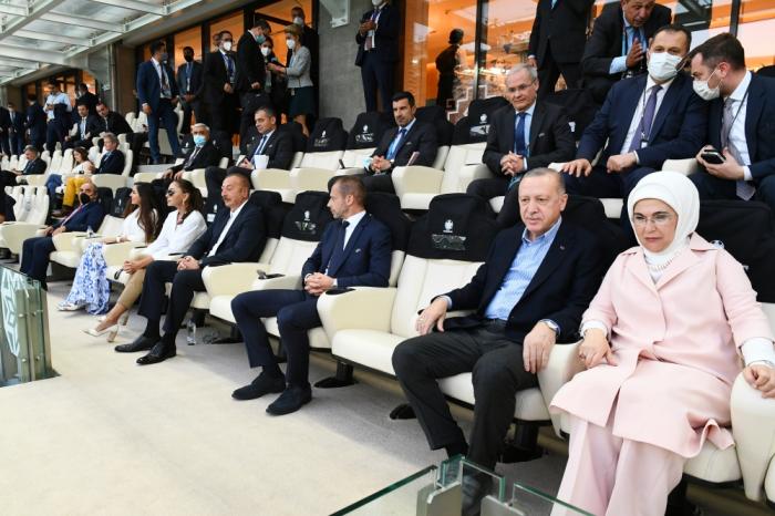 إلهام علييف وأردوغان في مباراة تركيا وويلز-  صور