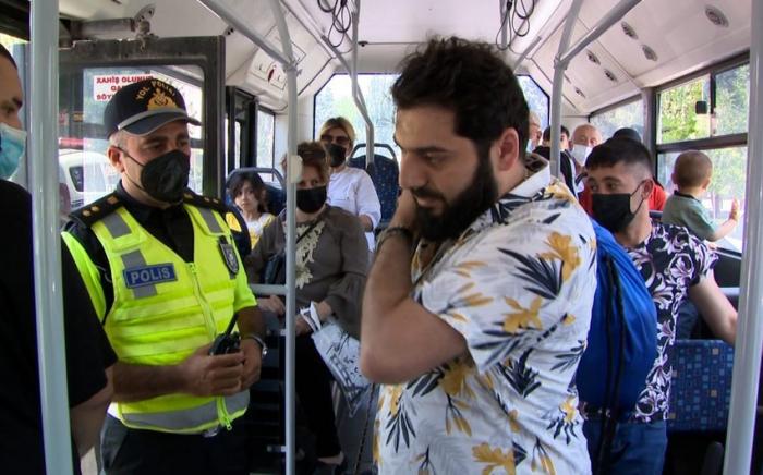 Sumqayıtda avtobusda maska taxmayanlar cərimələndi -    VİDEO