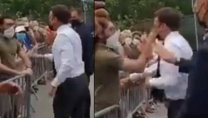 France President Emmanuel Macron slapped in the face -  VIDEO