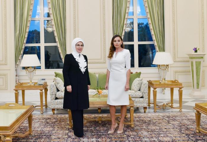First Ladies von Aserbaidschan und der Türkei treffen sich in Schuscha- VIDEO